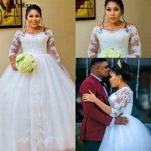 SexeMara Arabic Bridal Gowns Wedding Dresses Long Sleeves