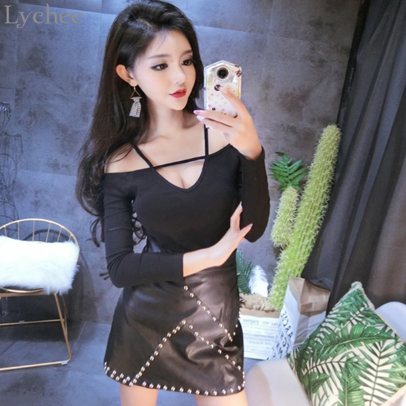 Buy Lychee Spring Autumn Sexy Women T Shirt Shoulder Halter V Neck Slim Long Sleeve T-shirt Tee Top