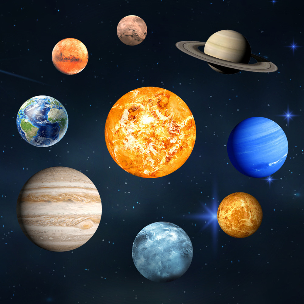 9pcs Sun Jupiter Saturn Neptune Uranus Earth Venus Mars Mercury Glowing Planets Wall Stickers Solar System Decals for kids Room ...