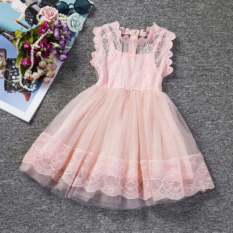 Летнее детское платье нарядное платье принцессы для девочек Красота Кружево свадебное платье Детская одежда церемонии Детский костюм