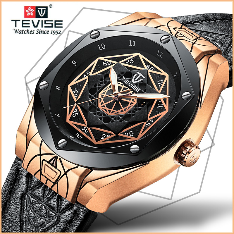 TEVISE Automatic Mechanical Men Watch Calfskin Strap Luminous Watches Clock Luxury Japanese Movement Watch with Leather