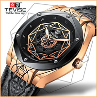 TEVISE Automatic Mechanical Men Watch Calfskin Strap Luminous Watches Clock Luxury Japanese Movement Watch with Leather Strap