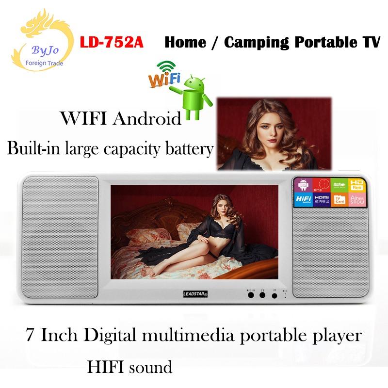 WIFI Android LED Digital led display multimedia display 7 inch LED player Dual speaker  LD-752A  Home  Camping portable LED TV 7 inch portable led atsc