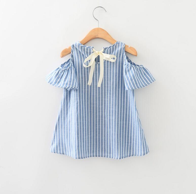 Forró gyerekek baba kék csíkos pamut ruha, nyári baba lány ruha pamut rövid ujjú ki váll blúzok gyerek lány