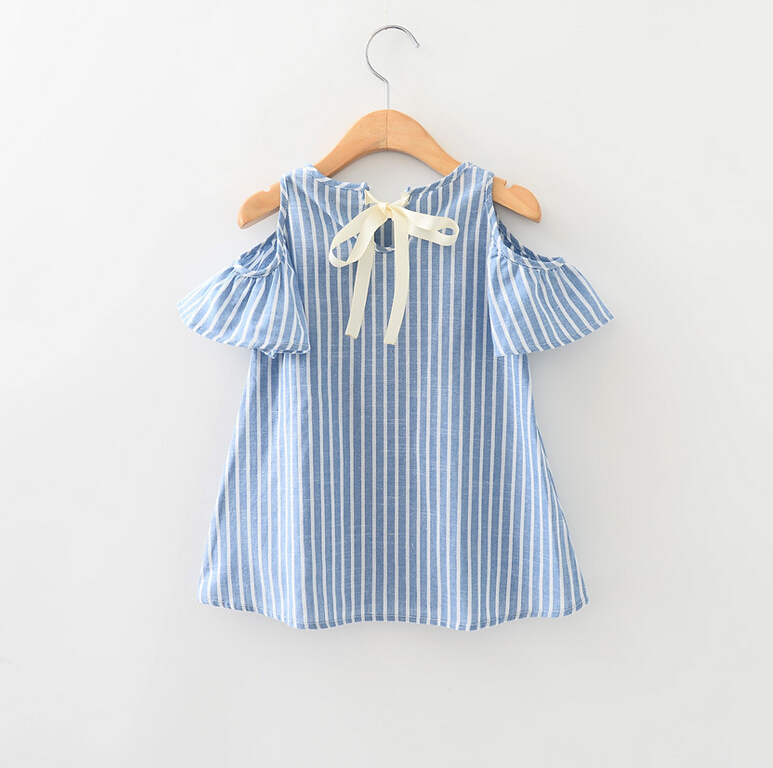 New Children Baby Bow Striped Cotton Dress Summer, Girls Princess Elegant Clothing 5 pcs/lot,Wholesale or retail free shopping2016 5 12tspring and summer new children clothing a dress baby girls dress denimsleeve girls dress