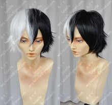 Wholesale heat resistant LY free shipping Danganronpa Monokuma Version Short Black White Cosplay Party Wigs