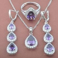 Water Drop Purple Crystal Zircon Women's Stamped 925 Silver Jewelry Sets Necklace Pendant Earrings Rings Free Shipping TZ0185