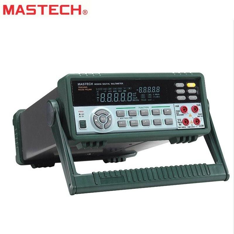 MASTECH MS8050 профессиональный настольный цифровой мультиметр Авто Диапазон Bench верхний мультиметр Высокая точность True RMS RS232C