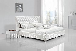 Contemporary king size queen white modern genuine leather soft sleeping bed diamond tufted crystal bedroom furniture.jpg 250x250