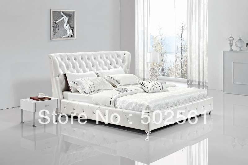 contemporary king size queen white modern genuine leather soft sleeping bed diamond tufted crystal bedroom furniture