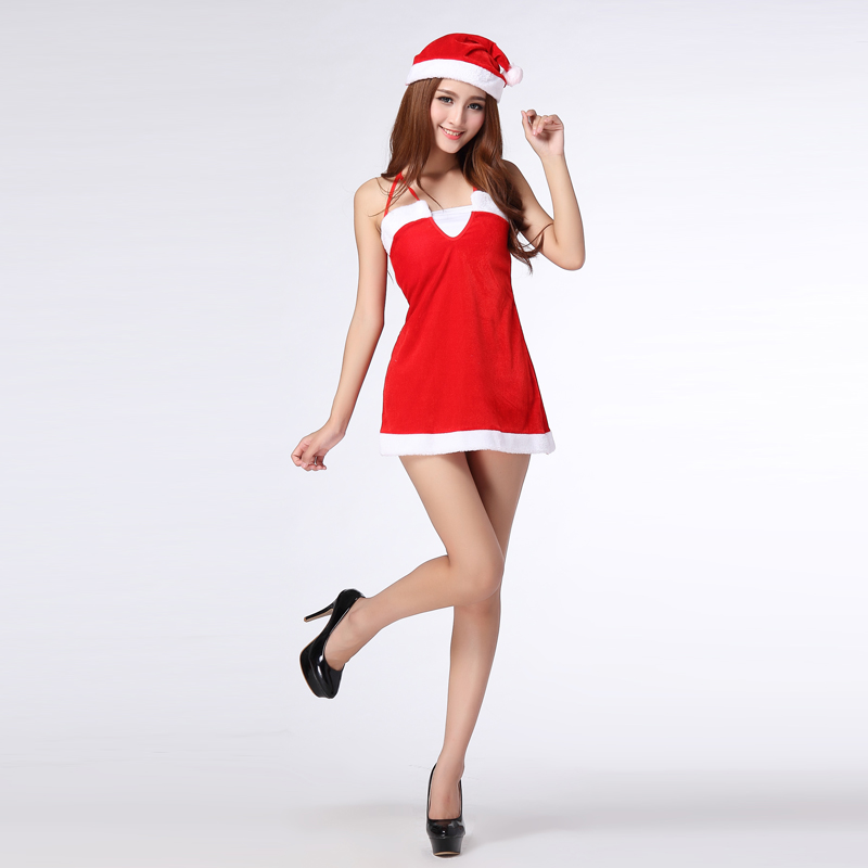 Free shipping,adult girl  red Sexy velvet braces skirt Christmas bar party  dress costume with hat