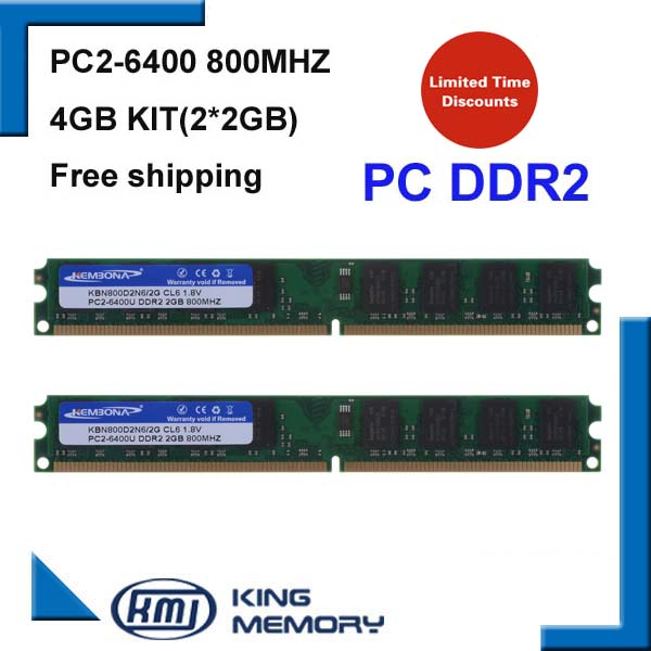 KEMBONA stock PC DESKTOP DDR2 800Mhz 4GB (Kit of 2,2X 2GB for Dual Channel) PC2-6400 work for all Intel and for A-M-D MB kembona for intel and for a m d pc desktop ddr2 2gb 4gb 1gb ram memoryddr2 800 667 533 mhz pc ddr2 1g 2g 4g