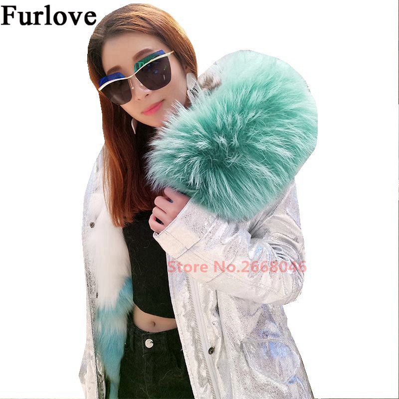 Silver winter jacket women parka natural raccoon fur collar hooded thick parkas long warm coats real fox fur coat womens jackets 2017 winter new clothes to overcome the coat of women in the long reed rabbit hair fur fur coat fox raccoon fur collar