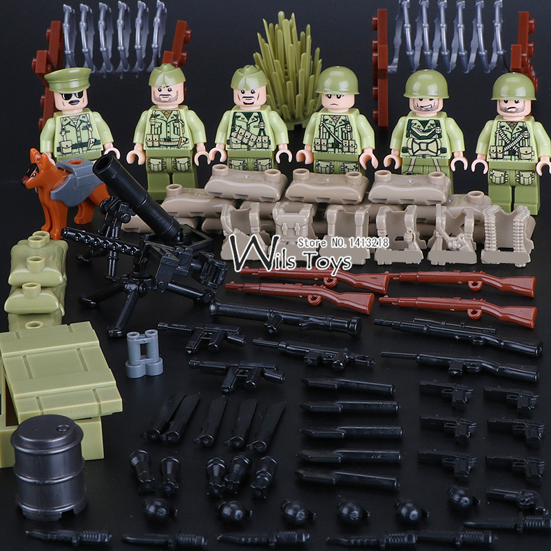 6pcs US Army World War 2 Military Special Force SWAT Soldier Navy Seals Team Building Blocks Brick Figures Boy Toy Children Gift 6pcs chinese army military world war 2 soldier swat weapon gun special force building blocks brick figures toy boy gift children