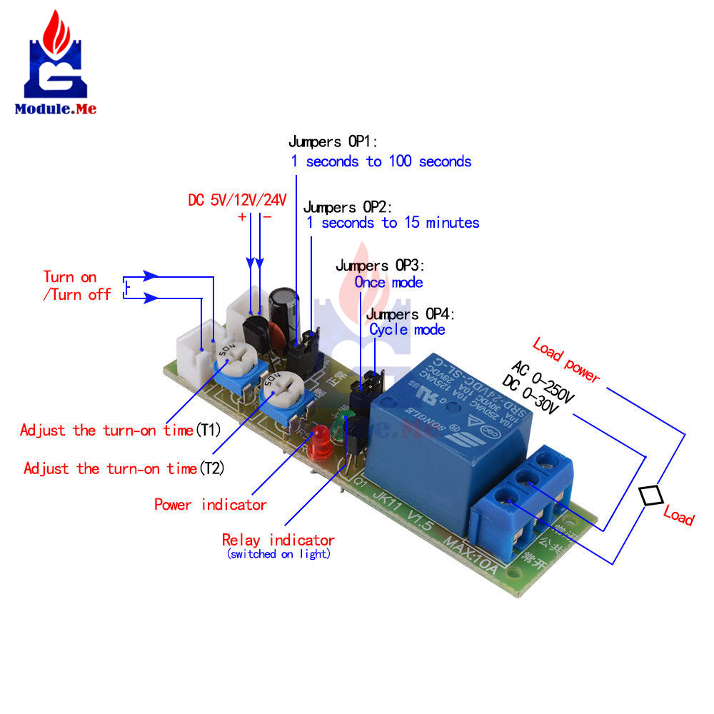 JK11 Adjustable Cycle Timer Delay On/Off Switch Power Supply Relay Module <font><b>DC</b></font> 5V 12V 24V Timer Relay Module with Cable image