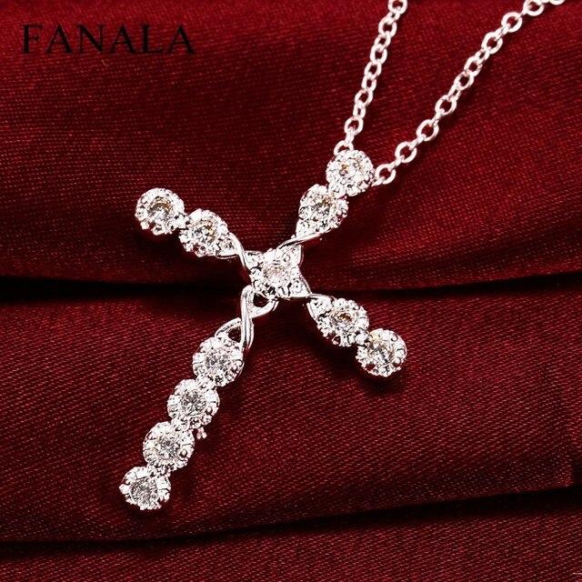 FANALA Necklace Women Choker Fashion Women's Shinny Silver Plated Crystal Cross