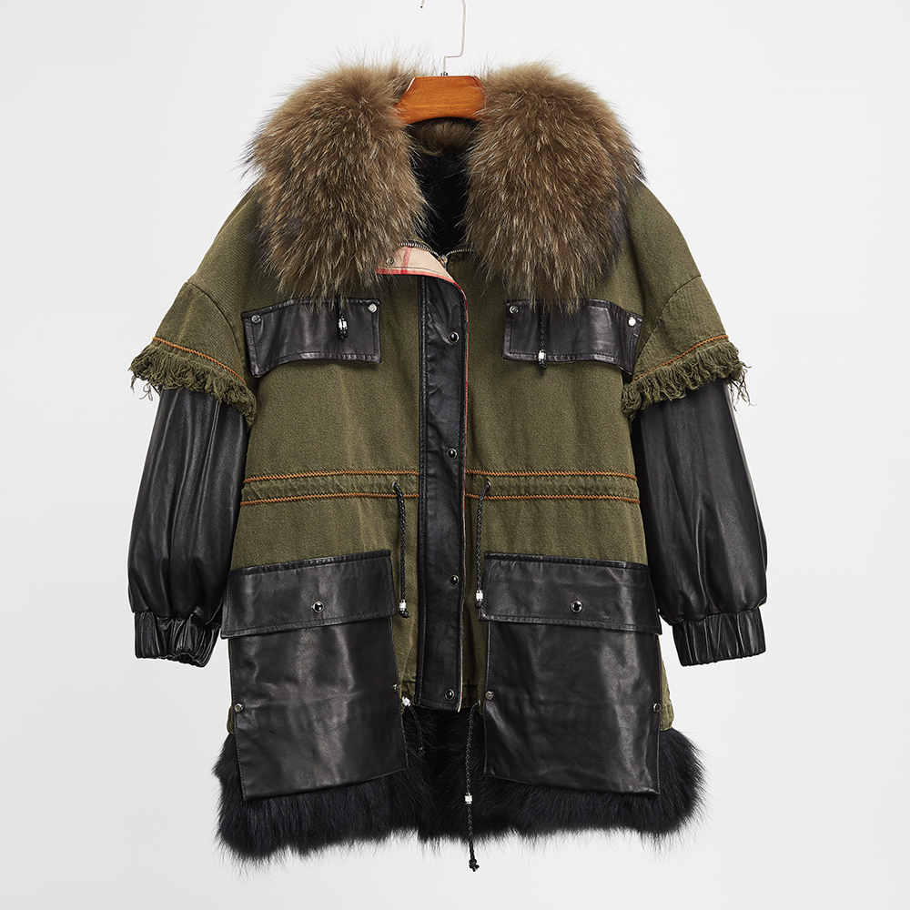 Real fox fur Liner jeans winter jacket women parka coat raccoon fur collar parkas genuine leather jean outer real fox fur liner winter jacket women new long parka real fur coat big raccoon fur collar hooded parkas thick outerwear