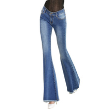 New Women Slim Middle Waisted Stretch Fringed Female Cowboy Women Designer Jeans Wide Leg Trousers AD9532