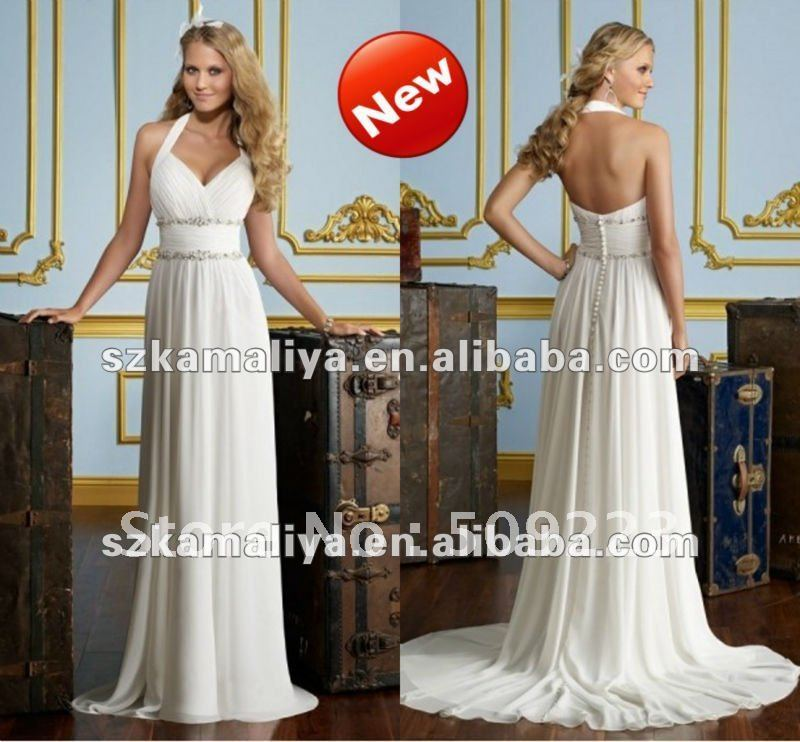 Chiffon sweetheart halter strap neckline beaded trim for Sheath wedding dress with beading and side drape