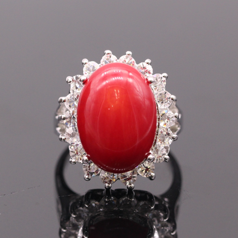 Fashion Women Ring Oval Natural Real Red Coral White Zircon Platinum Plated Ring