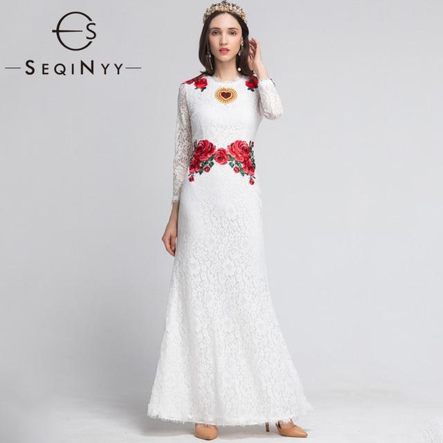 409cf7913 SEQINYY أنيقة فستان طويل 2019 الصيف الربيع الأزياء تصميم جديد سليم غمد  التطريز زهور حمراء XXL الدانتيل اللباس النساء