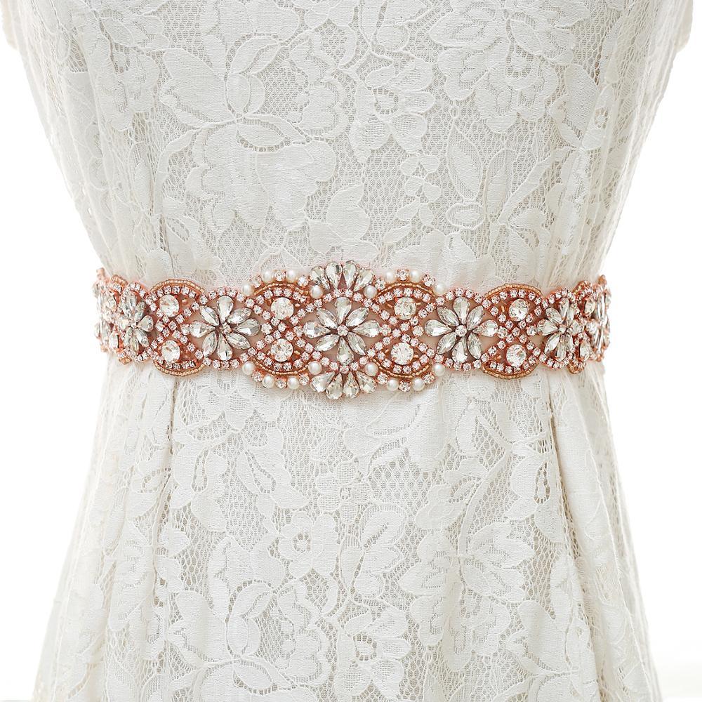 Rhinestones Wedding Belt Elegant Pearls Bridal Sash Rose Gold Crystal Bridal Belt For Women Evening Dress S154RG