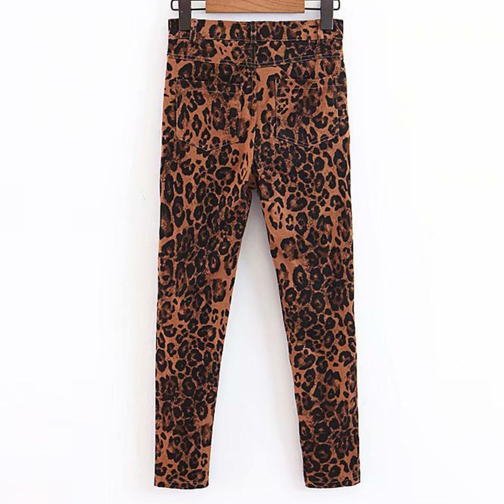 KoHuiJoo Neue Stil Leopard Print Jeans Frau Herbst Winter Street Punk Dünne Denim Hosen Hohe Taille Dünne Vintage Bleistift Jeans