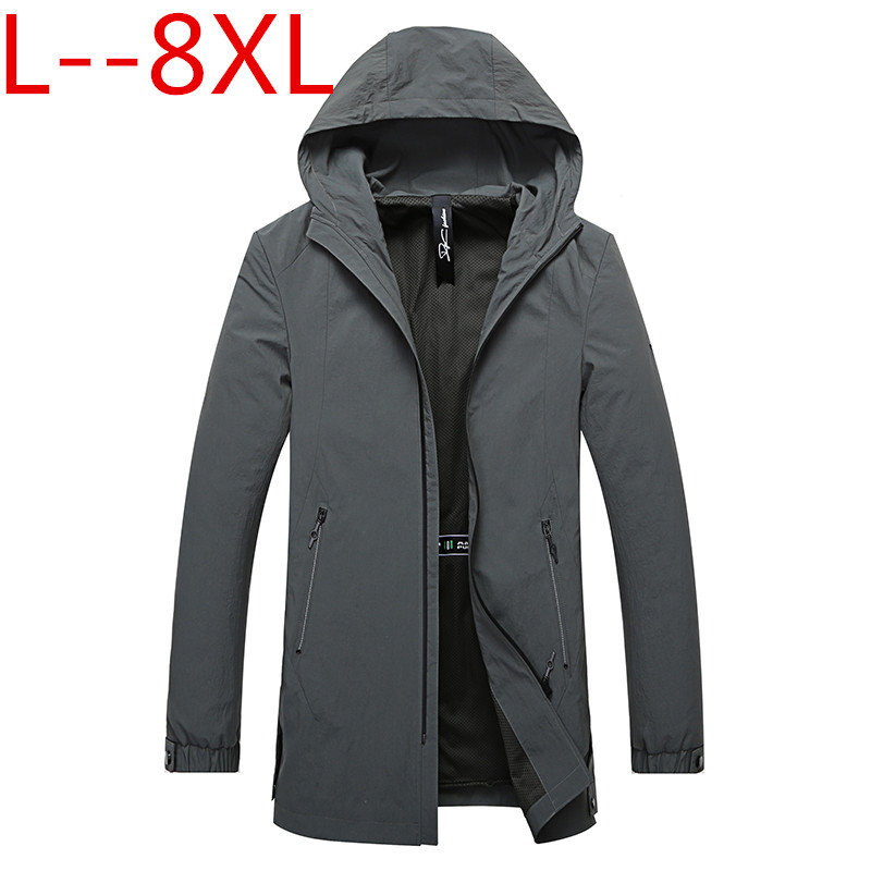 <font><b>Plus</b></font> <font><b>size</b></font> 8XL <font><b>6XL</b></font> 5XL new long trench coat <font><b>mens</b></font> brand <font><b>clothing</b></font> casual fashion long jackets coat <font><b>men</b></font> quality hooded trench male image