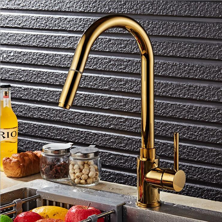 Free shipping gold finish single lever Brass hot and cold pull out kitchen Sink Basin Mixer Tap Faucet kitchen chrome plated brass faucet single handle pull out pull down sink mixer hot and cold tap modern design