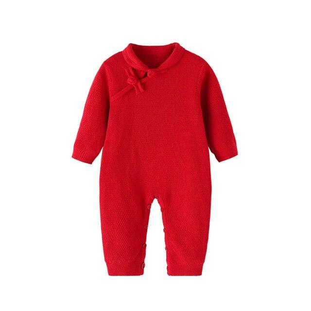Outono Inverno Bebê Recém-nascido Menina Malha Romper Macacão Vermelho  Chinês Roupas Para Criança de 95634158e2b