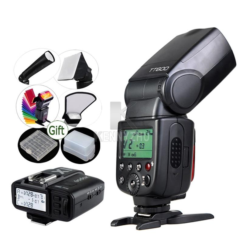 GODOX TT600 + X1T C/X1T N Flash Trigger Zender 2.4G Draadloze Zaklamp Speedlite voor DSLR Camera Canon/Nikon-in Flitsen van Consumentenelektronica op  Groep 1