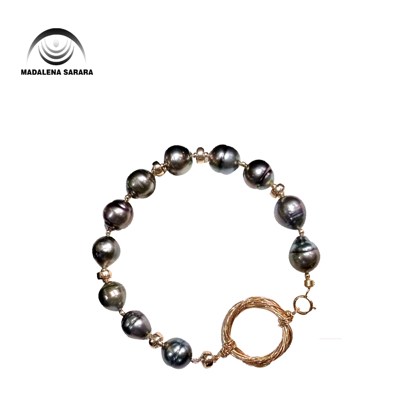 MADALENA SARARA 8mm Genuine Baroque Round Tahitian Black Pearl Bracelet  Beaded Making Chain Bracelet 3.95MADALENA SARARA 8mm Genuine Baroque Round Tahitian Black Pearl Bracelet  Beaded Making Chain Bracelet 3.95