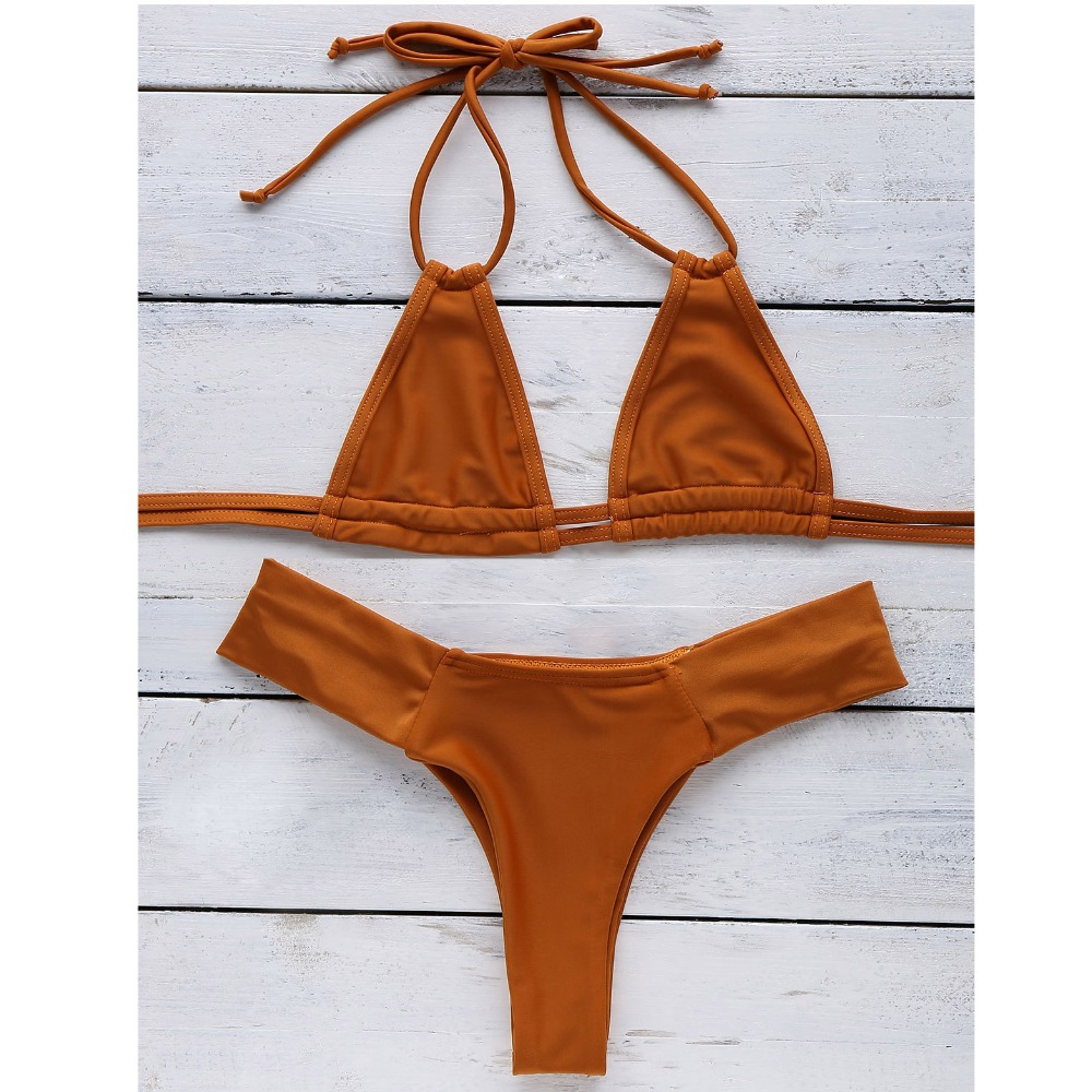Micro Bikini Brazilian Girls Swimming Suits Bikini Small Cup+ High Cut Style Beach Solid ...