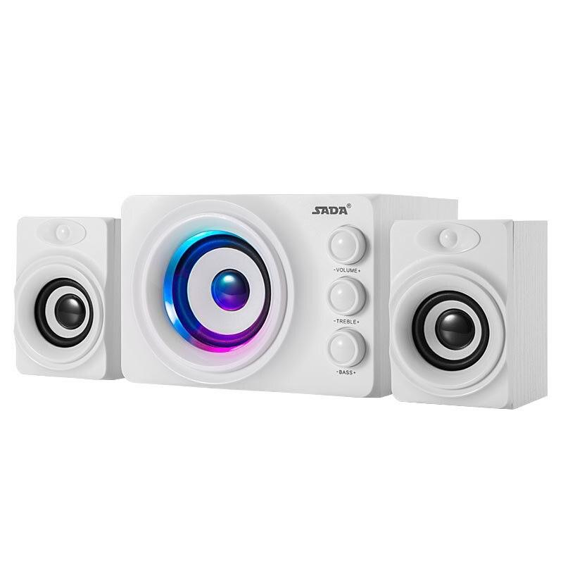 SADA Q2 3D Subwoofer LED Flashing Light Bluetooth Stereo PC Wood Speakers TF Card USB Flash  Bass Computer USB SpeakerDrive