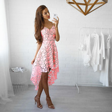 korean style solid lace hollow out banquet dresses summer sleeveless spaghetti strap v-neck pink party female