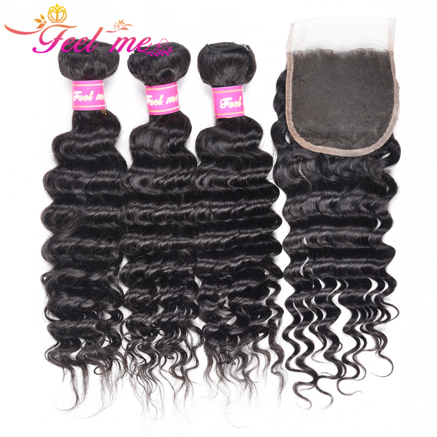 Feel Me Hair Brazilian Hair Weave 3 Bundles With Lace Closure Non Remy Human Hair Deep Wave Bundles With Closure Free Part