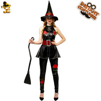 Halloween Women's Witch Costume New Style Red Rose Witch Fancy Dress Cosplay Witch Costumes for Christmas&Carnival Party