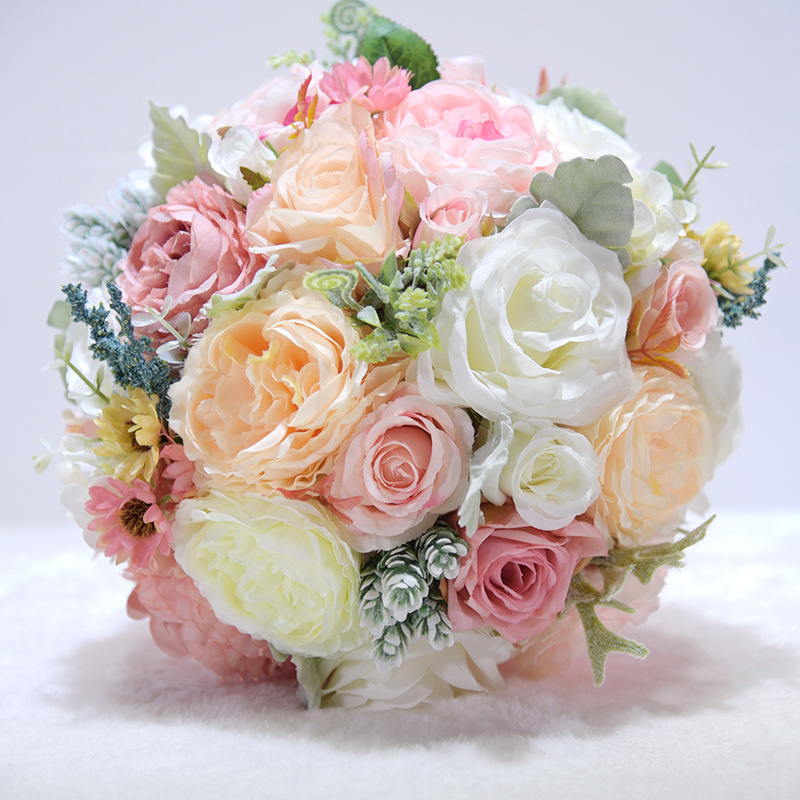 Ayicuthia Romantic Bridal Flowers Wedding Bouquet With Ribbon Artificial Pink Bridal Accessories Wedding Flowers S150 Wedding Bouquets