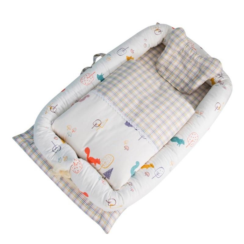 Katoenen Baby Nest Bed Wieg Cot Reizen Wieg Bed Voor Pasgeborenen Draagbare Wieg Baby Nest Wasbaar Bumper 0-2y Om Hinder Uit De Weg Te Ruimen En De Dorst Te Lessen