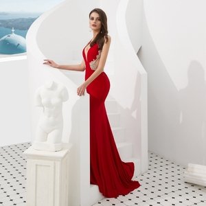 Image 5 - Rosso Abiti da ballo Mermaid Jersey Bordare Di Cristallo 2020 Cut Out Lungo Da Sera Formale Abito Del Partito A Piedi Accanto A Te Elegante di Laurea
