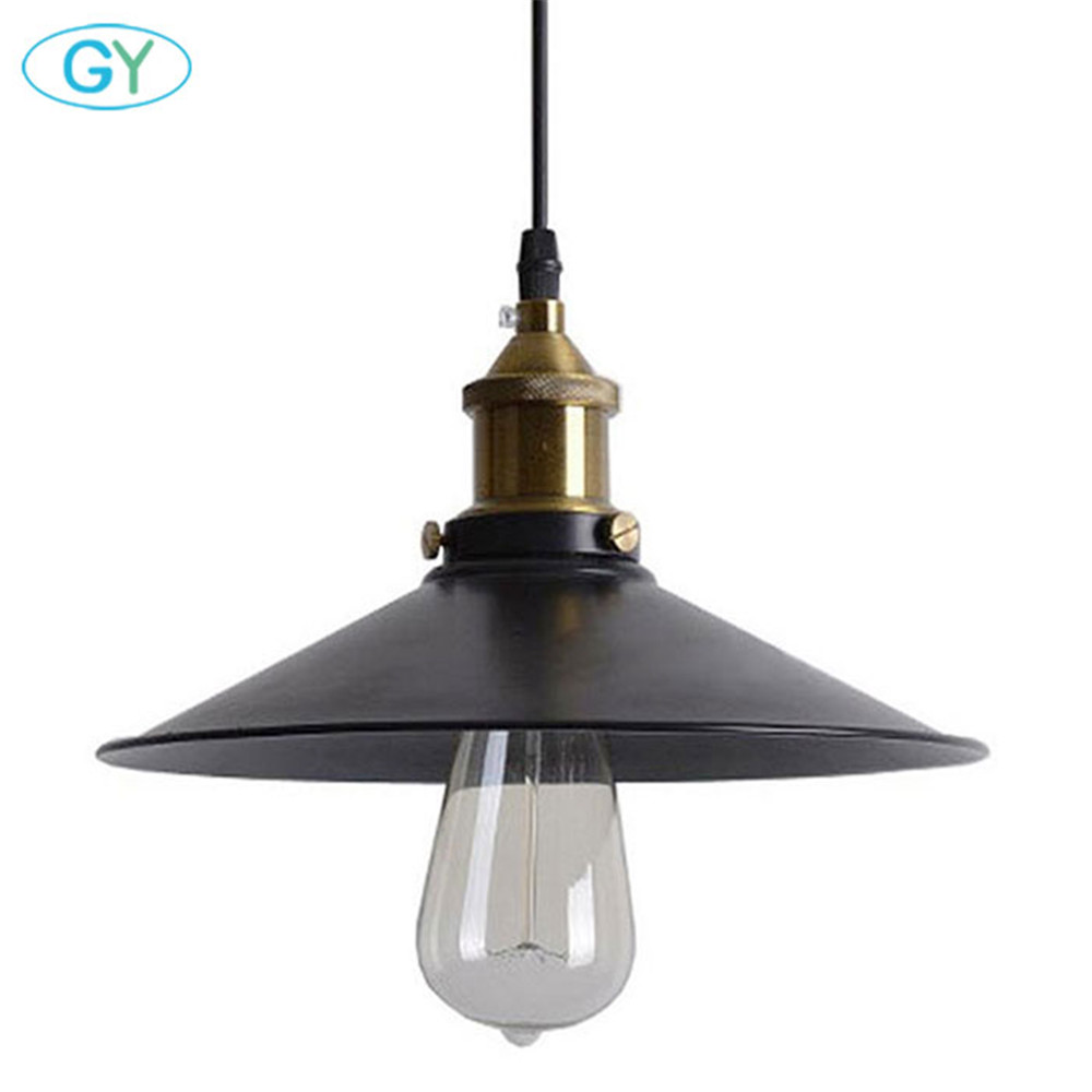 AC100-240V D21cm D26cm Black Metal Pendant Lamp Industrial Edison Mini Pendant Lighting 1 Light lustres para quarto lamp ...