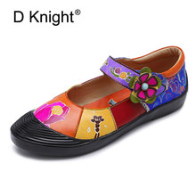 цены Handmade Genuine Leather Soft Shoes National Leather Flats Shoes For Women Casual Female Flats Lady Flower Print Shoes Footwear