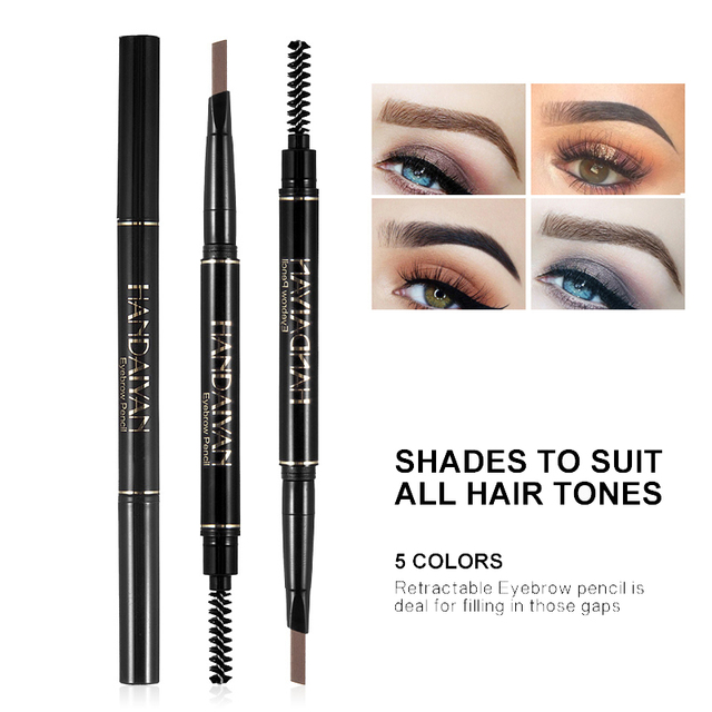 Handaiyan dual ended automatic eyebrow pencil waterproof long lasting grey black eyebrow pomade microblading tattoo pen HF110 1