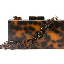 Леопардовый цвет акриловая коробка клатчи с полимерная цепь красная ткань акриловая застежка женские Брендовые вечерние пляжные вечерние сумки