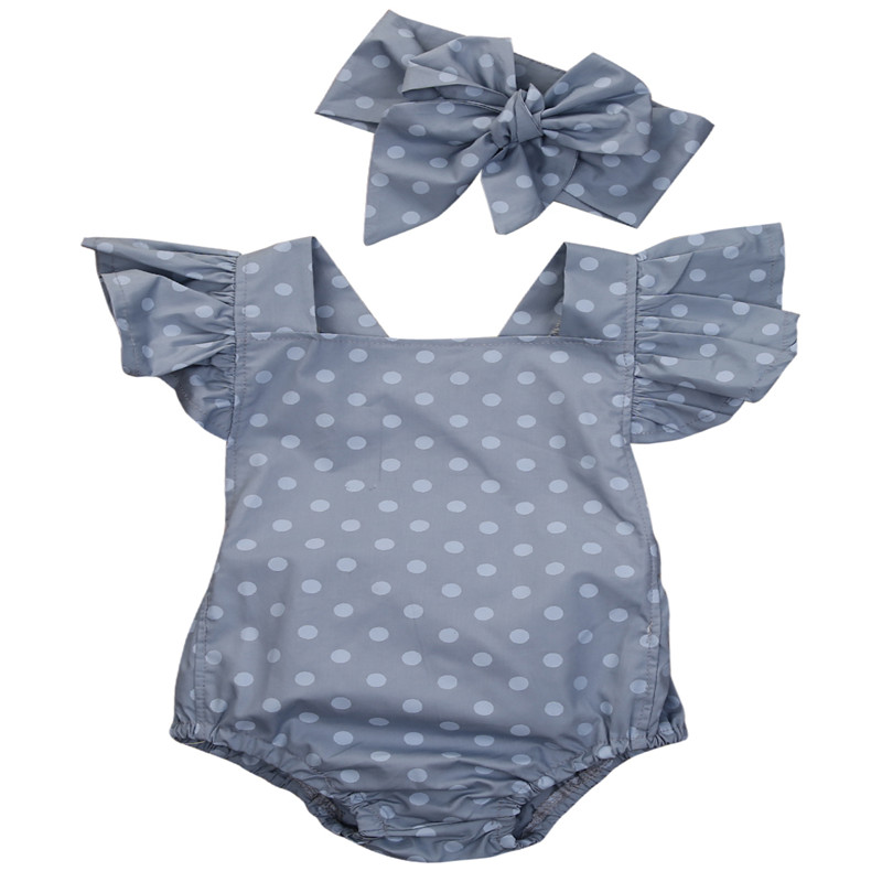 Cute Baby Girl Polka Dot Romper Newborn Baby Cotton Short Ruffle Sleeve Bowknot Backless Romper Summer Casual Outfit Set Clothes
