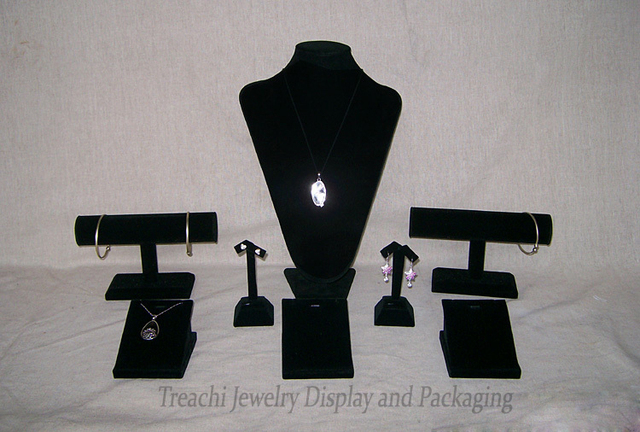 Black Velvet Earring Display Stand Black Velvet Jewelry Display Props Kit Wood Counter Display Stand 23