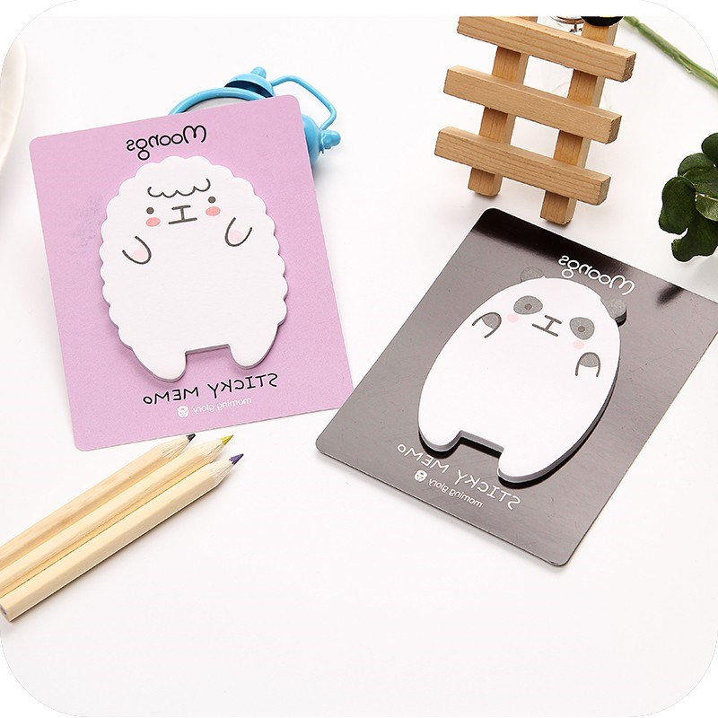 2pcs/lot Cute Lamb and panda convenient stickers Memo Pad Sticky Notes Planner Stickers Sticky Notes Memo Notepad Stationery
