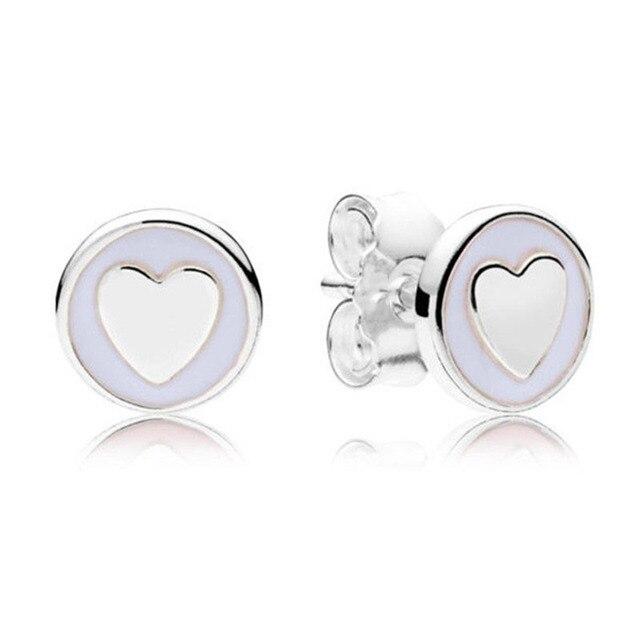 New Trendy 925 Sterling Silver Pandora Earrings For Women Sweet Statements  Earring Studs Lady Fine Original Europe Jewelry Gift