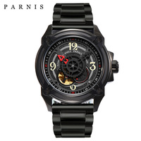 Parnis 44 мм Мужские часы скелетоны 2018 Элитный бренд, механические часы Japan Mechanic Military Pilot часы розовое золото черный серебристый