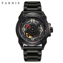 Parnis 44mm Skeleton Men Watch 2018 Luxury Brand Mechanical